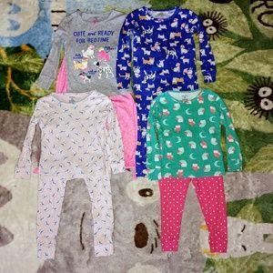 EUC Bundle of 4 Girl's 3T Long Sleeve PJ Sets